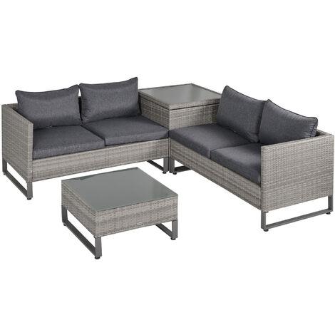 Outsunny 4 PCs Rattan Wicker Sofa Set Conservatory Furniture w/ Side Storage Box