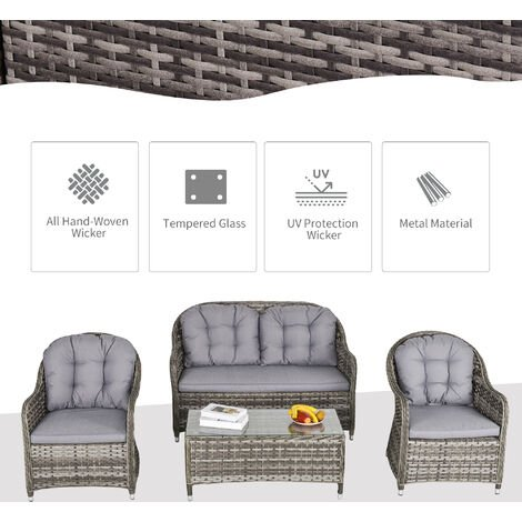 Outsunny 4 Pcs Rattan Wicker Sofa Set Outdoor Conservatory Furniture w/ Cushion