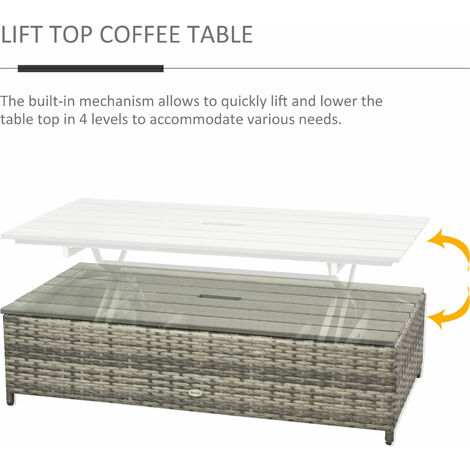 Outsunny 4-Piece Outdoor Wicker Conversation Patio Set Lift Top Coffee Table