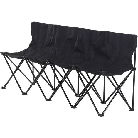 Outsunny 4-Seater Chair Bench w/ Cooler Bag Metal Frame Carry Case Camping Black