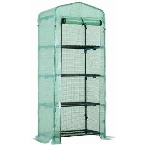 Outsunny 4-Tier Mini Portable Greenhouse Plants Flowers Vegetables Growing w/ Cover