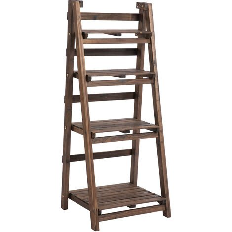 Outsunny 4-Tier Wooden Plant Shelf Plant Pots Holder Stand Indoor Outdoor