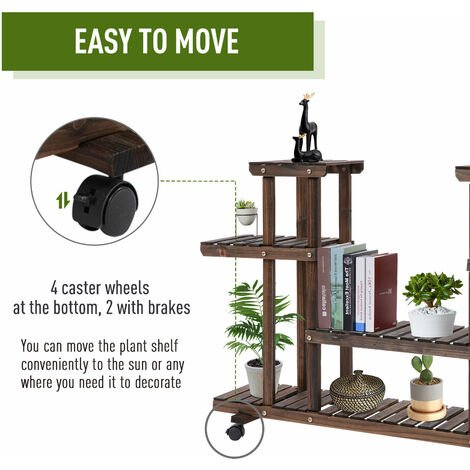 Outsunny 4-Tier Wooden Plant Stand w/ Wheels Handle Indoor Outdoor Flower Pot