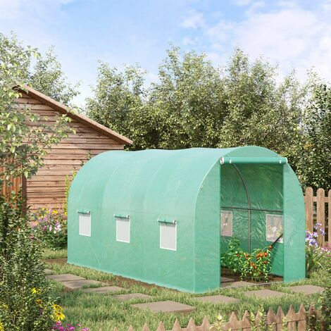 Outsunny 4 x 2m Greenhouse Walk-in Polytunnel Garden Steel Frame w/ Zipped Door