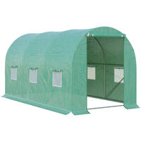 Outsunny 4 x 2m Greenhouse Walk-in Polytunnel Garden Steel Frame w/ Zipped Door