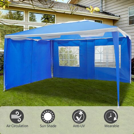 Outsunny 4 x 3m Garden Gazebo Marquee Party Tent Wedding Canopy - Blue