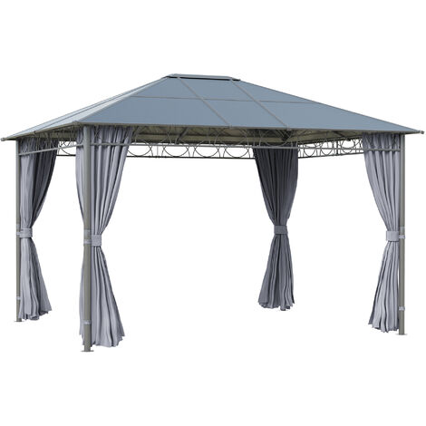 Outsunny 4 x 3(m) Hardtop Gazebo for Garden Party w/ Polycarbonate Roof Curtains