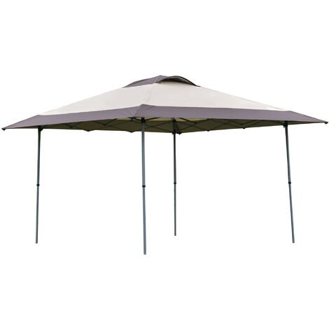 Outsunny 4 x 4m Pop Up Tent Gazebo Outdoor Canopy w/ Adjustable Legs Bag Khaki
