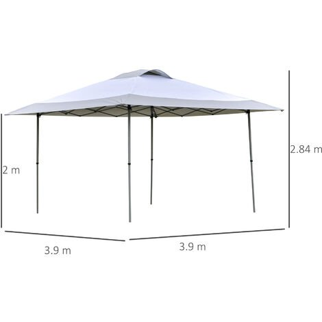 Outsunny 4 x 4m Pop Up Tent Gazebo Outdoor Canopy w/ Adjustable Legs Bag White