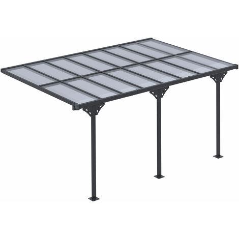 Outsunny 4.35x3m On-Wall Hard Roof Aluminium Frame Outdoor Pergola Shelter