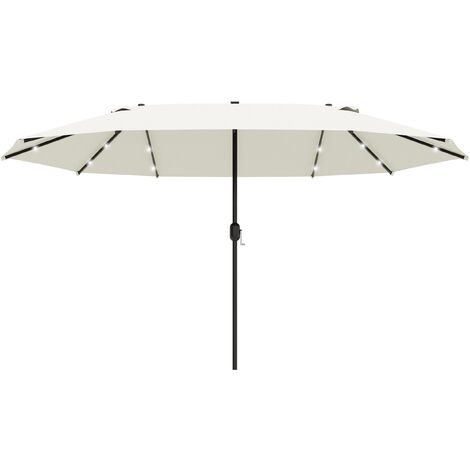 Outsunny 4.4m Double-Sided Sun Umbrella Patio Parasol Solar Lights Cream White