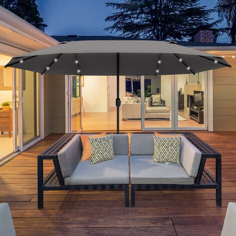 Outsunny 4.4m Double-Sided Sun Umbrella Patio Parasol Solar Lights Dark Grey