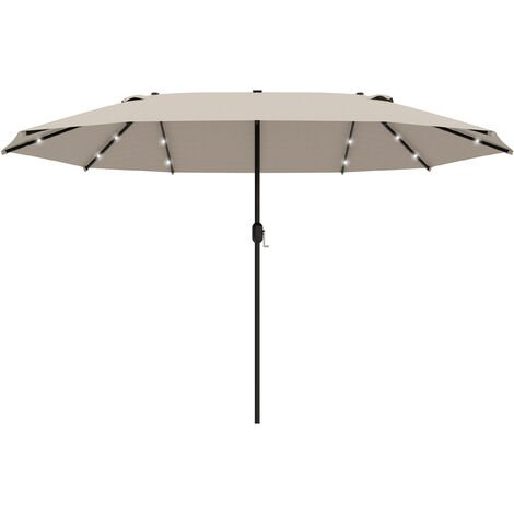 Outsunny 4.4m Double-Sided Sun Umbrella Patio Parasol Solar Lights Khaki