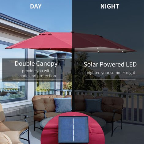 Outsunny 4.4m Double-Sided Sun Umbrella Patio Parasol Solar Lights Wine Red