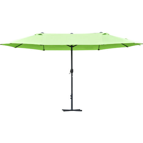 Outsunny 4.6m Double Canopy Sun Umbrella Canopy w/ Crank Sun Shade Shelter Green