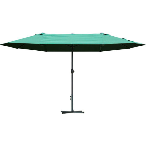 Outsunny 4.6M Sun Umbrella Canopy Double-side Crank Sun Shade Shelter Dark Green
