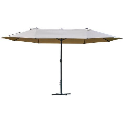 Outsunny 4.6M Sun Umbrella Canopy Double-side Crank Sun Shade Shelter Khaki