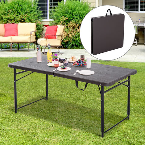 Outsunny 4ft Height Adjustable Folding Picnic Trestle Table BBQ Party Brown - 122 x 61cm