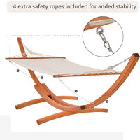 Outsunny 4m Outdoor Wooden Hammock With Arc Stand Frame