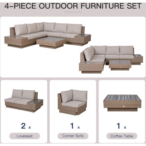 Outsunny 4PC Rattan Sofa Set 2 Loveseat 1 Seat Table Garden Furniture w/ Cushion