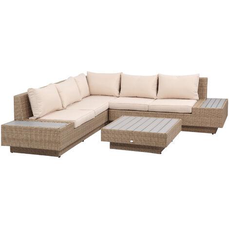 Outsunny 4PC Rattan Sofa Set 2 Loveseat 1 Seat Table Garden Furniture w/ Cushion