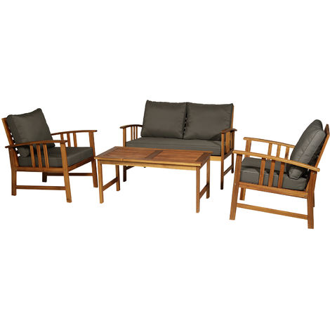 Outsunny 4pcs Acacia Wood Outdoor 4 Seater Table Chair Set Patio