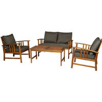 Outsunny 4pcs Acacia Wood Outdoor 4-Seater Table Chair Set Patio Garden Furniture
