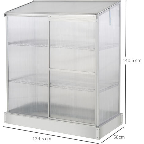 Outsunny 4x1ft 3-Tier Greenhouse Outdoor Plant Grow Aluminium Frame w/ Roof Door