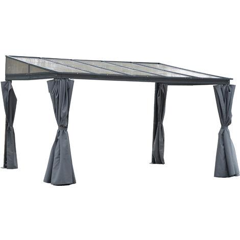 Outsunny 4x3m Outdoor Pergola Gazebo Party Tent Garden Shelter w/ Curtain