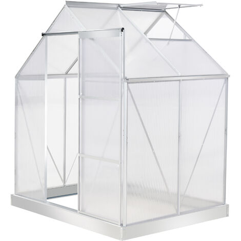 Outsunny 4x6FT Walk-In Greenhouse Polycarb. Panels Aluminium Frame Sliding Door
