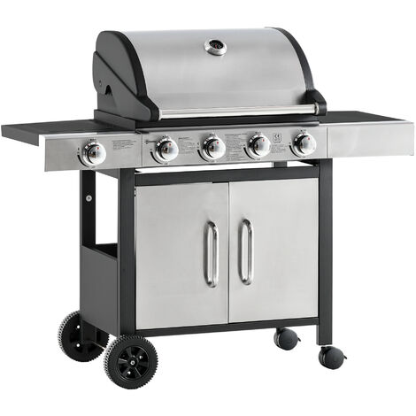 Outsunny 5 Burner Deluxe Gas Barbecue Grill American BBQ w/ Shelves Storage