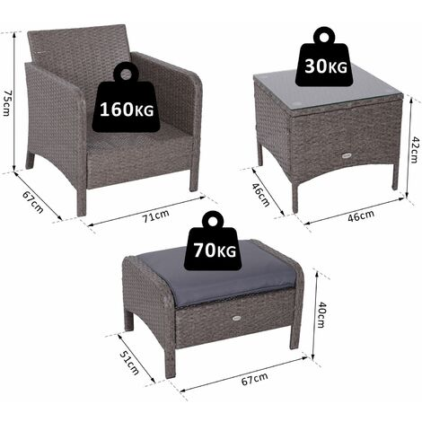 Outsunny 5 Pc Outdoor Rattan Furniture Set Armchair Footstool Table Patio Garden
