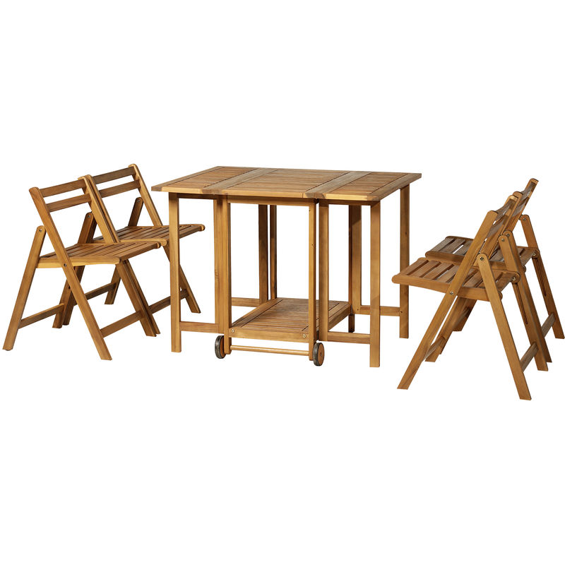 Outsunny 5 Pcs Acacia Wood Dining Set Expandable Table Folding Chairs Outdoor Garden