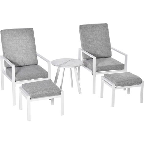 Outsunny 5 Pcs Aluminium Frame Garden Reclining Chair Set Patio Furniture w/ Cushions