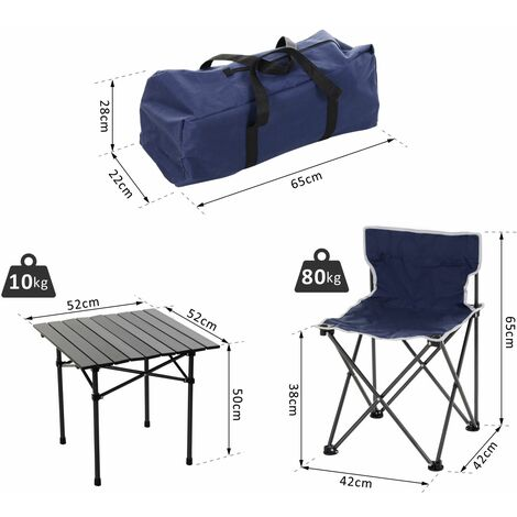 Outsunny 5 Pcs Camping Set w/ 4 Chairs Roll Top Table Carry Bag Foldable Portable