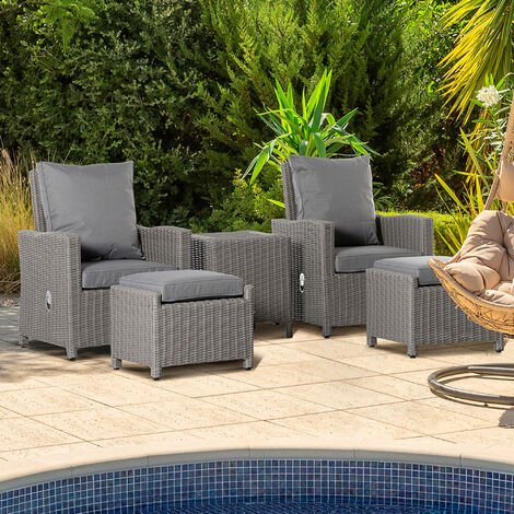 Outsunny 5 PCs Outdoor Rattan Lounge Sofa w/ Footstool Cooler Bar Table Armchairs