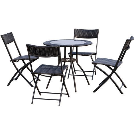 9bfddb610 Outsunny 5 Pcs Rattan Bistro Set 4 Folding Chair with Table Wicker Furniture  - Black
