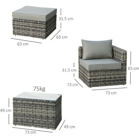 Outsunny 5 PCS Rattan Garden Furniture Set Single Sofa Stool Coffee Table Grey