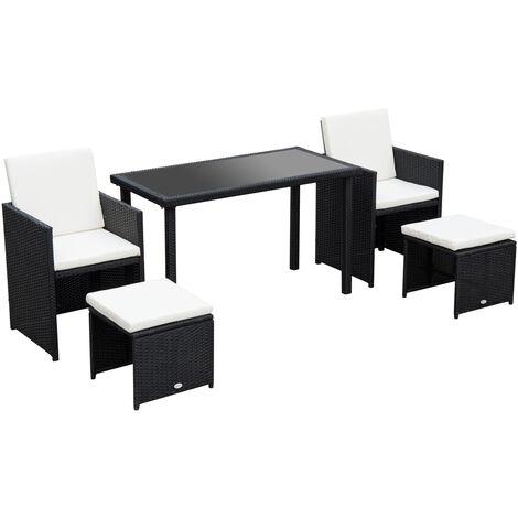 Outsunny 5 PCs Rattan Garden Furniture Wicker Weave Sofa Set Dining (Black)