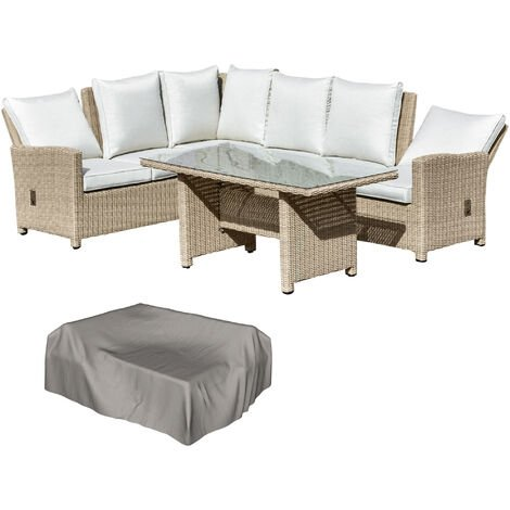 Outsunny 5 PCS Reclining PE Rattan Garden Dining Set Patio Outdoor Furniture