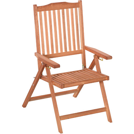 Outsunny 5-Position Acacia Wood Chair Recliner Dining Seat Garden Outdoor