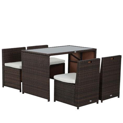 Gartenset Sitzgruppe Garnitur Lounge Outsunny Polyrattan Gartenmöbel 3-tlg