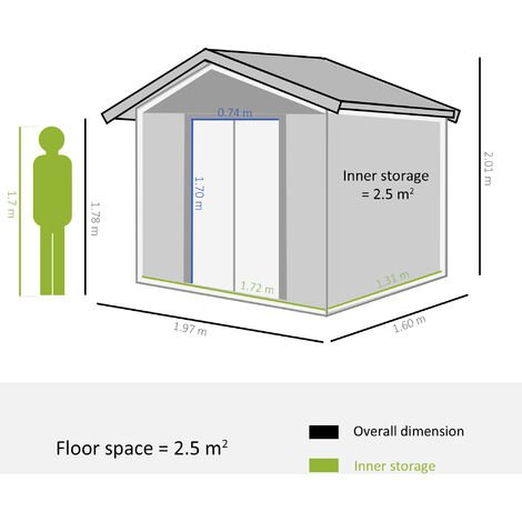 Outsunny 5 x 7ft Metal Garden Shed House Hut Gardening Tool Storage Brown with wood grain