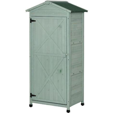 Outsunny 55x74cm Wooden Garden Storage Shed Cabinet w/ 3-Tier Shelves Green