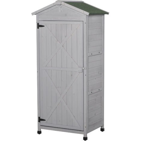Outsunny 55x74cm Wooden Garden Storage Shed Cabinet w/ 3-Tier Shelves Grey