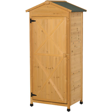 Outsunny 55x74cm Wooden Garden Storage Shed Cabinet w/ 3-Tier Shelves Yellow
