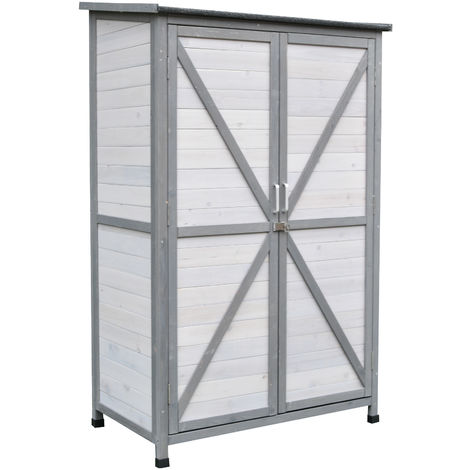 Outsunny 5ft Wooden Garden Shed 3 Shelves Open Right 2 Doors Handle Lock Grey
