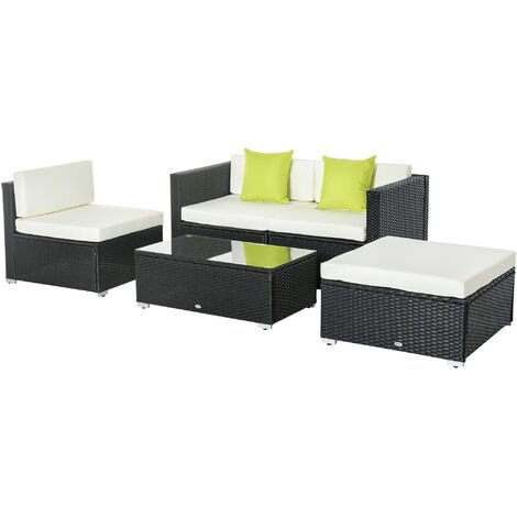 Outsunny 5PC Rattan Furniture Set Garden Sectional Wicker Sofa Tea Table - Black