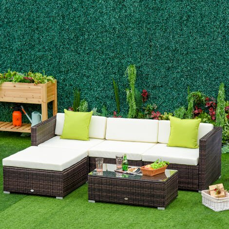 Outsunny 5PC Rattan Furniture Set Garden Sectional Wicker Sofa Tea Table - Brown