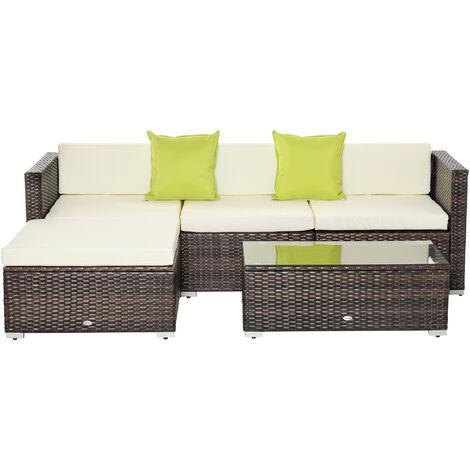 Outsunny 5PC Rattan Furniture Set Garden Sectional Wicker Sofa Tea Table - Brown